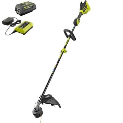 40V Brushless Cordless Battery Attachment Capable String Trimmer with 4.0 Ah Battery and Charger