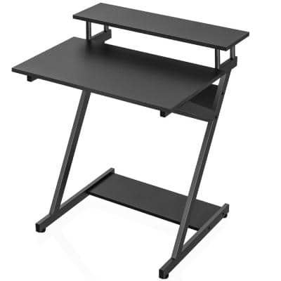 Genoveva 27.6 in. Black Writing Desk With Manufactured Wooden and Metal Frame