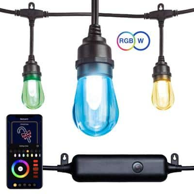 12-Light Outdoor 27.42 ft. Smart Plug-in Edison Bulb LED String Light with RGBW Color Changing and Wireless App Control