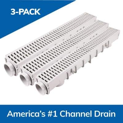 5 in. Pro Series Channel Drain Kit 5-1/2 in. x 39-3/8 in. Deep Channel, Gray Grates, End Caps/Outlet (3-Pack=9.8 ft.)