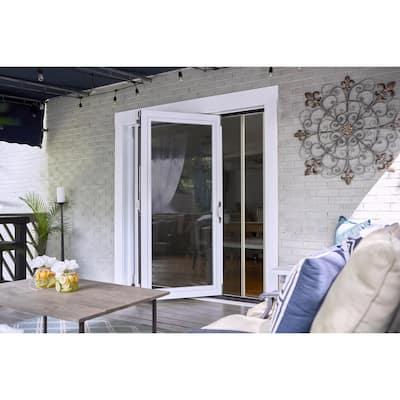 72 in. x 75 in. Reversible White Aluminum Prehung Retractable Screen Door