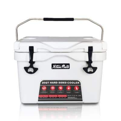 26 Qt. White High-Performance Insulated Ice Chest Cooler with Lockable Lid