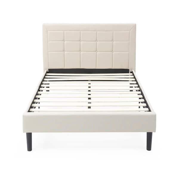 Upholstered Platform Bed with Headboard Wood Slat Support Mattress