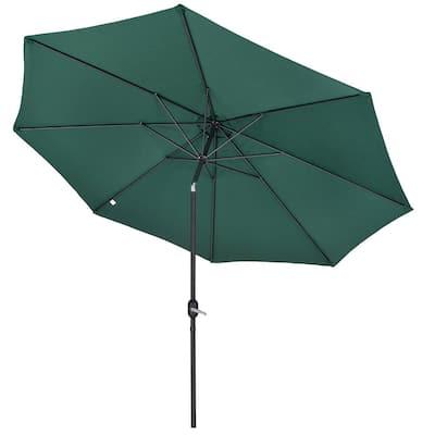 11 ft.Steel Metal Market Crank and Tilt Patio Umbrella in Green