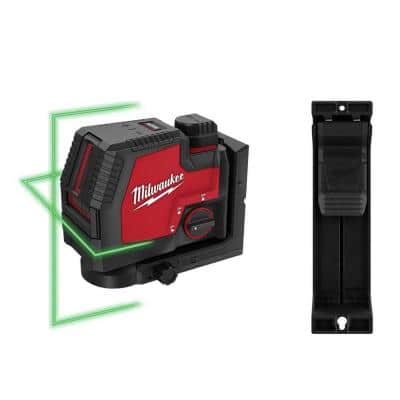 100 ft. REDLITHIUM Lithium-Ion USB Green Rechargeable Cross Line Laser Level with Battery, Charger and Track Clip