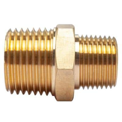 1/2 in. x 3/8 in. MIP Brass Pipe Hex Reducing Nipple Fitting (5-Pack)
