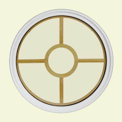 30 in. x 30 in. Round White 4-9/16 in. Jamb 2-1/4 in. Interior Trim 5-Lite Grille Geometric Aluminum Clad Wood Window