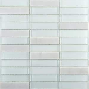 Illumina Flare Glossy 11.73 in. x 11.73 in. x 8mm Glass Mesh-Mounted Mosaic Tile (0.96 sq. ft.)