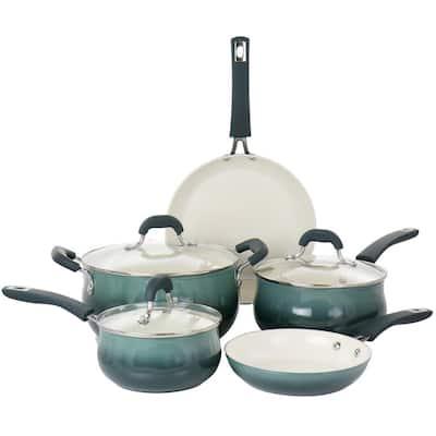 Corbett 8-Piece Nonstick Aluminum Cookware Set in Blue