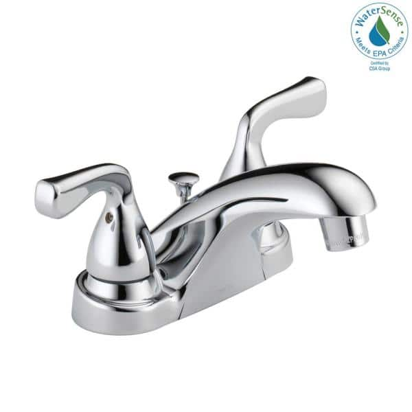 Delta Foundations 4 In Centerset 2 Handle Bathroom Faucet In Chrome B2511lf Ppu Eco The Home Depot