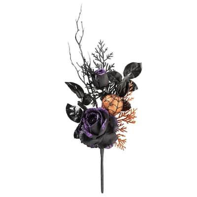 "20"" Halloween Rose and Orange Ornament Pick Pair"