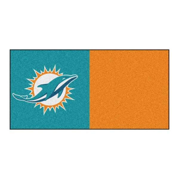 Fanmats Nfl Miami Dolphins Orange And Teal Nylon 18 In X 18 In Carpet Tile 20 Tiles Case 8552 The Home Depot