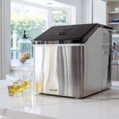 40 lbs. Portable Ice a Day Countertop Clear Ice Maker BPA Free Parts Perfect for Cocktails and Soda in Stainless Steel