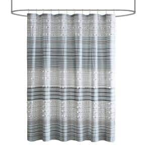 Charlie Navy 70 in. x 72 in. Cotton Yarn Dye Shower Curtain with Pom Poms