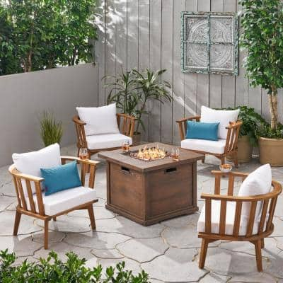 Walson Teak Brown 5-Piece Wood Patio Fire Pit Seating Set with White Cushions