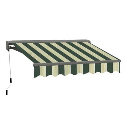 10 ft. Classic C Series Semi-Cassette Electric w/ Remote Retractable Patio Awning (98in. Projection) Green/Cream Stripes