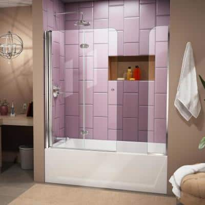 Aqua Fold 56 in. to 60 in. x 58 in. Semi-Frameless Hinged Tub Door with Extender in Chrome