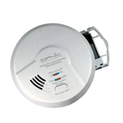 Hardwired 4-In-1 Smoke Fire Carbon Monoxide and Natural Gas Detector 9-Volt Battery Backup Microprocessor Intelligence