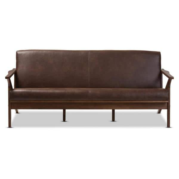 Baxton Studio Bianca 72.1 in. Dark Brown Fabric 4-Seater Cabriole Sofa with Wood Frame | The Home Depot
