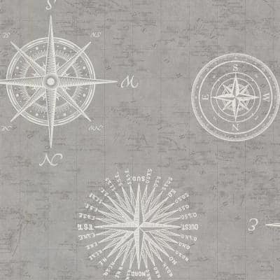 Navigate Grey Vintage Compass Grey Paper Strippable Roll (Covers 56.4 sq. ft.)