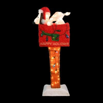 36 in. Peanuts 3D Pre-Lit Soft Tinsel Sculpture Snoopy Red Mailbox Animated