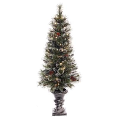 4 ft Pre-lit Incandescent Glitter Pot Artificial Christmas Tree with 50 UL Clear Lights