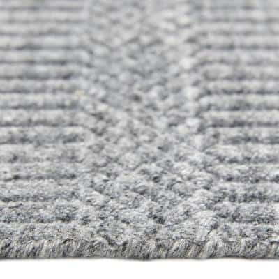 Sanam Contemporary Solid Gray 8 ft. x 10 ft. Hand Loomed Area Rug