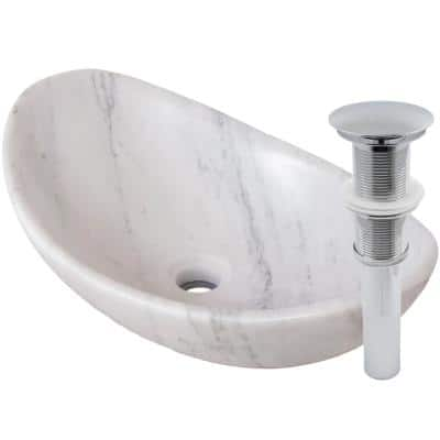 Stone Bathroom Sink Carrara Marble Oval Vessel Sink in White with Umbrella Drain in Chrome