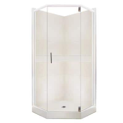 Classic Grand Hinged 42 in. x 42 in. x 80 in. Neo-Angle Shower Kit in Natural Buff and Satin Nickel Hardware