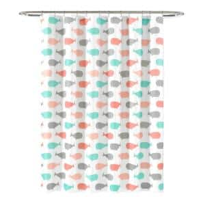 72 in. x 72 in. Pink/Aqua Single Whale Shower Curtain
