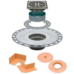 Kerdi-Drain 4 in. x 4 in. PVC Drain Kit in Stainless Steel