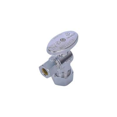 5/8 in. Compression Inlet x 3/8 in. O.D. Compression Outlet Quarter Turn Angle Stop Valve