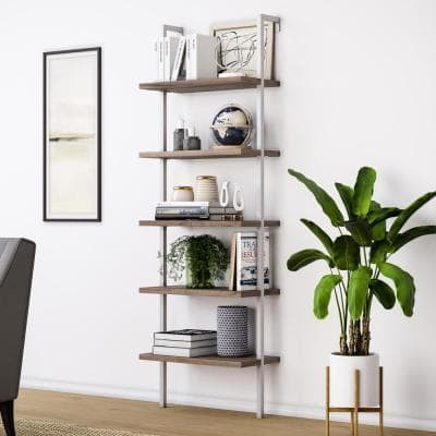 Theo Natural Light Brown 5-Shelf Ladder Bookcase or Bookshelf with White Metal Frame