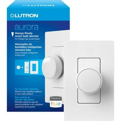 Aurora Smart Bulb Dimmer Switch for Paddle Switches, for Philips Hue Smart Bulbs, White