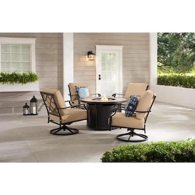 Bowbridge 5-Piece Black Steel Outdoor Patio Fire Pit Seating Set with Sunbrella Beige Tan Cushions