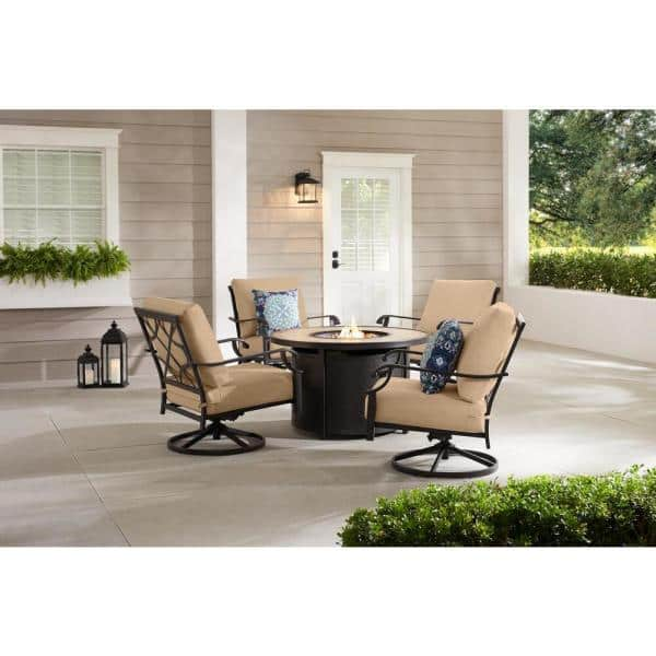 Hampton Bay Bowbridge 5 Piece Black Steel Outdoor Patio Fire Pit Seating Set With Sunbrella Beige Tan Cushions H171 01574700 The Home Depot