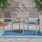 Luton Silver Armed Aluminum Outdoor Dining Chair (2-Pack)