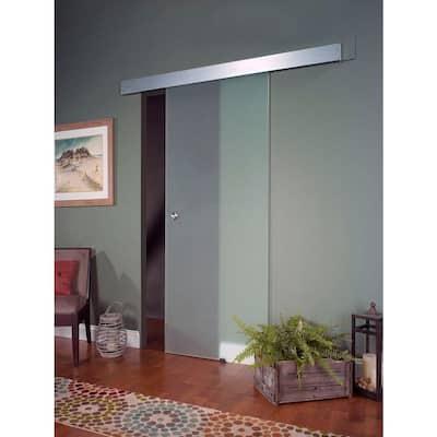 38 in. x 81 in. Glass Sliding Barn Door with Hardware Kit