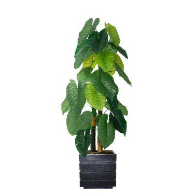 54 in. Real Touch Taro Plant in Fiberstone Planter