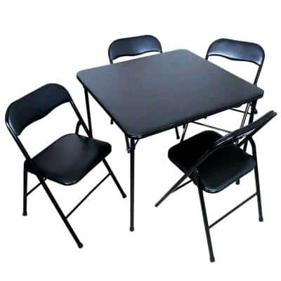 5-Piece 34 in. Black Card Table and 4 Chairs Furniture Set
