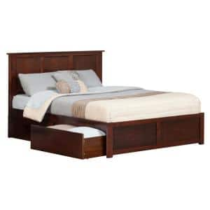 Madison Walnut King Platform Bed with Flat Panel Foot Board and 2-Urban Bed Drawers