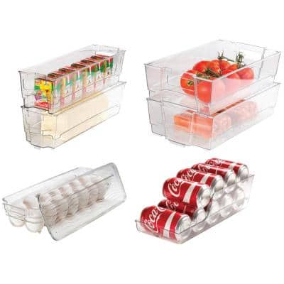 7 Piece Refrigerator and Freezer Stackable Storage Organizer Bins with Built in Handles, Clear