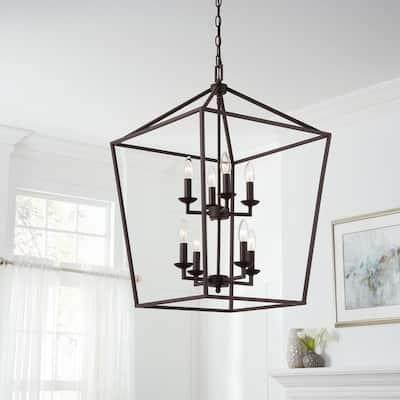 Weyburn 8-Light Bronze Caged Chandelier