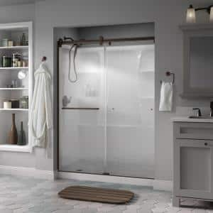 Delta Simplicity 60 X 71 In Frameless Contemporary Sliding Shower Door In Bronze With Clear Glass Sd2547109 The Home Depot