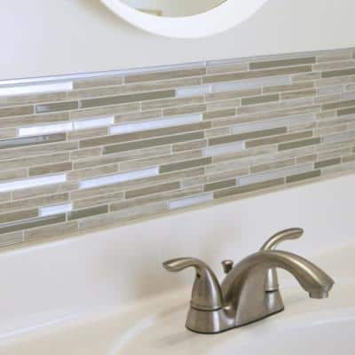 Smart Edge Brillo Silver 18 in. x 0.27 in. Vinyl Peel and Stick Tile (.034 sq. ft./ 4-pack)