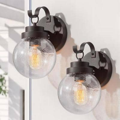 Globe 1-Light Rustic Industrial Bronze Outdoor Wall Lantern Sconces Coach Lights with Seeded Glass Shades (2-Pack)