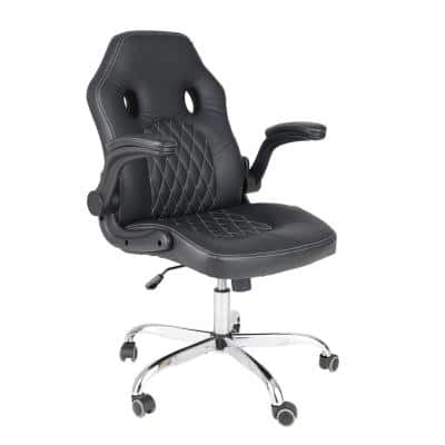 Black PU Leather Gaming Chair Back Adjustable Swivel Executive Office Chair Ergonomic E-sports Chair Lumbar Support