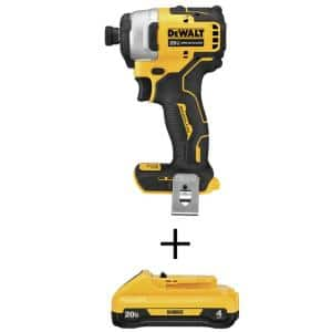 ATOMIC 20-Volt MAX Cordless Brushless Compact 1/4 in. Impact Driver with (1) 20-Volt 4.0Ah Battery