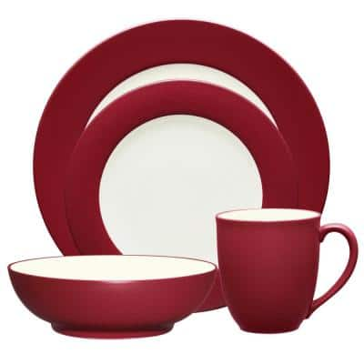 Colorwave Raspberry Red Stoneware Rim 4-Piece Place Setting (Service for 1)
