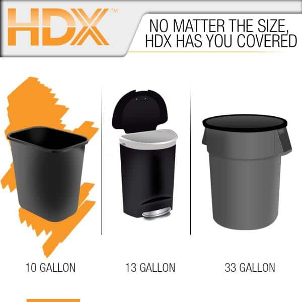 Hdx 10 Gal Clear Waste Liner Trash Bags 250 Count Hdx 960428 The Home Depot